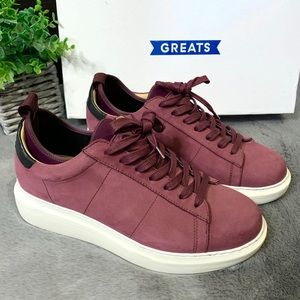 GREATS The Alta Maroon Nubuck Leather Sneakers